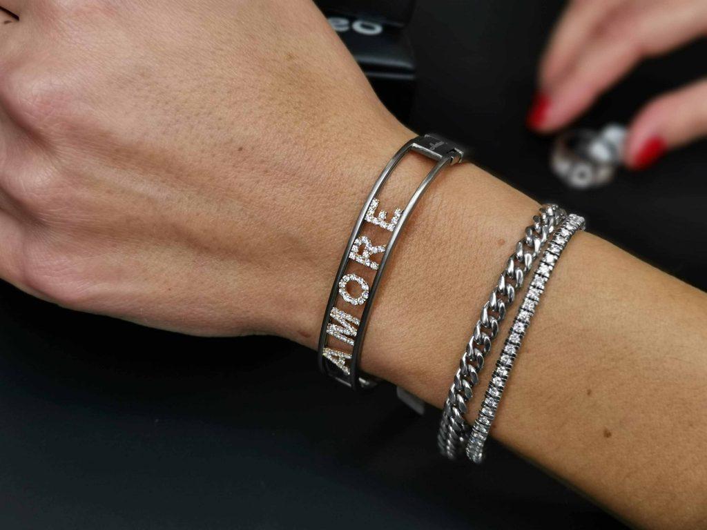 Dudù bracciale in titanio e diamanti
